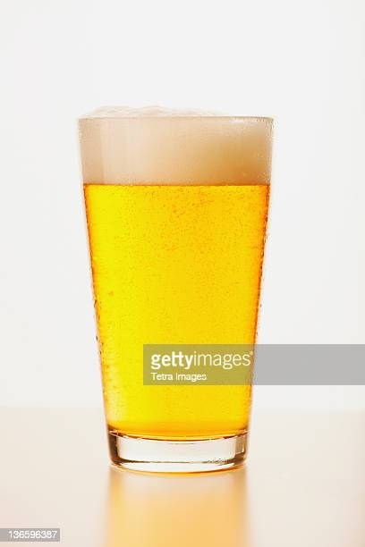 Studio shot of pale ale in glass