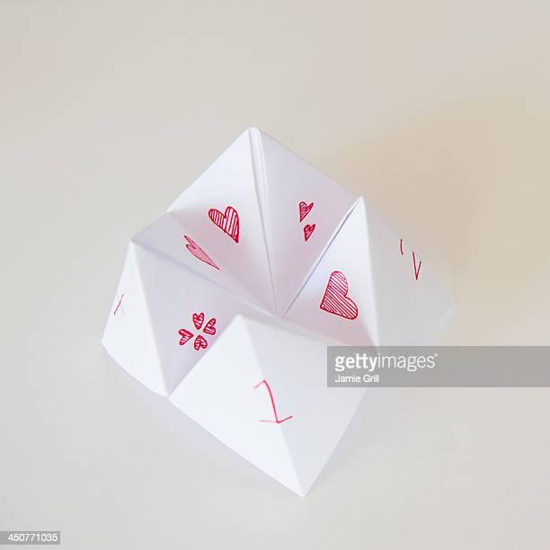 Studio Shot of paper fortune teller
