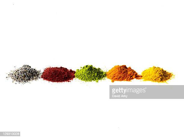 Studio shot of piles of spices