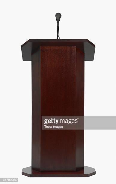 Studio shot of podium with microphone