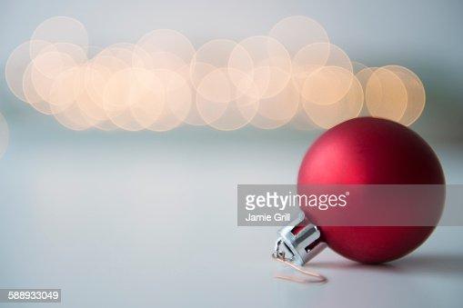 Studio shot of red bauble