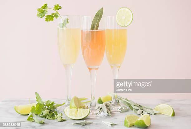 Studio shot of refreshing cocktails