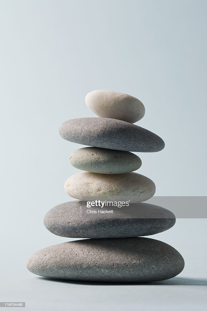 Studio shot of rocks balancing on one another