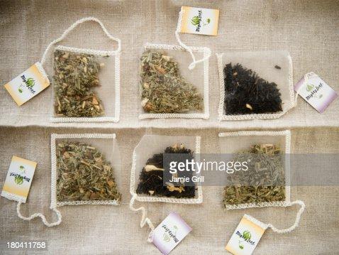 Studio Shot of selection of herbal tea