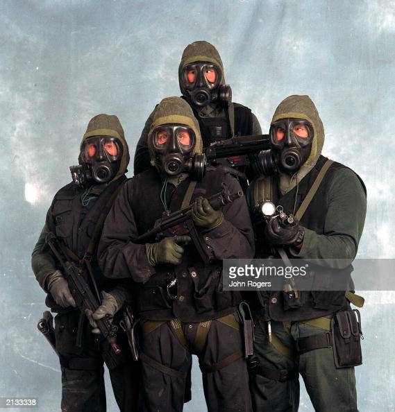 Studio shot of serving members of the Elite SAS regiment Hertfordshire UK where they were filmed for a drama programme based on the Iranian embassy...