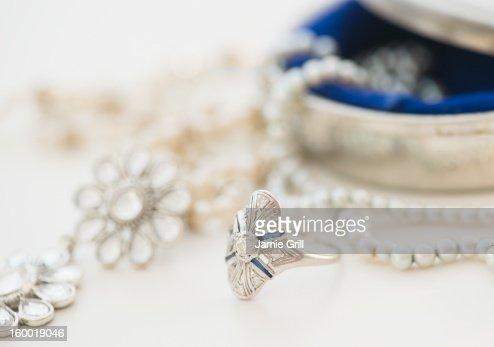 Studio shot of silver jewelry