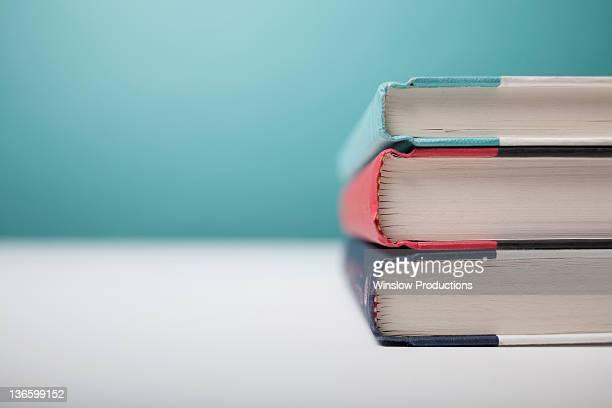 Studio shot of three books in stack