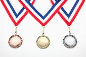 Studio shot of three medals