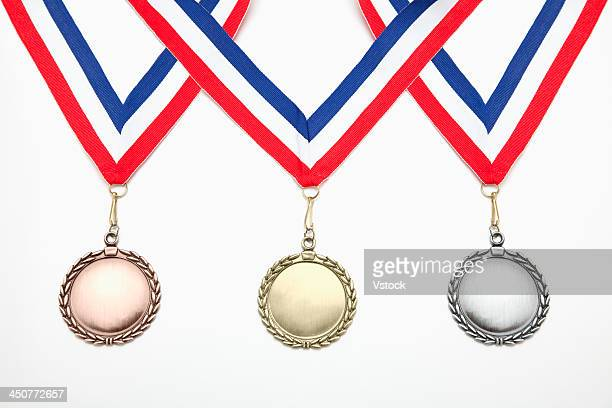 Studio shot of three medals