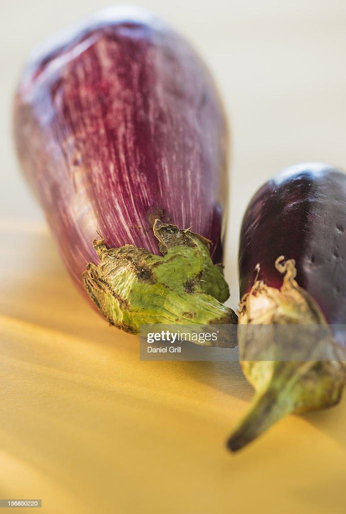 Studio Shot of two eggplants : Stock Photo