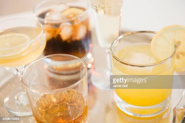 Studio shot of various drinks