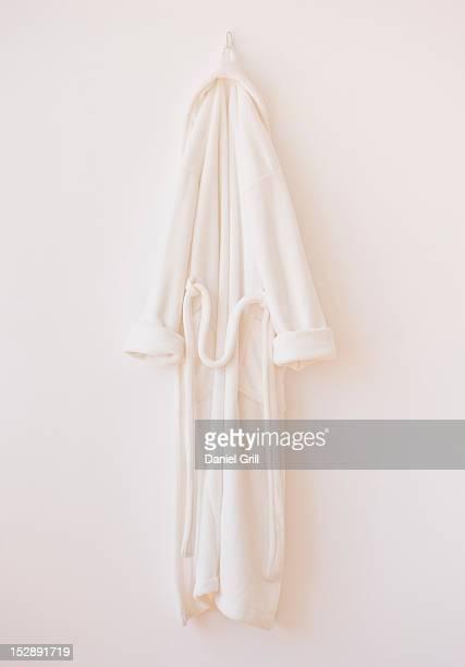 Studio shot of white bathrobe