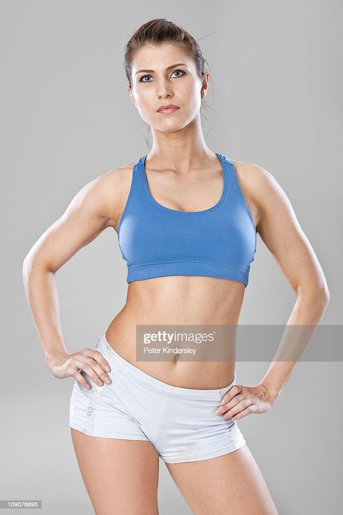 Studio shot of woman in sportswear