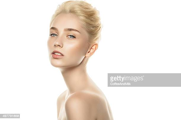 Studio shot of young beautiful woman