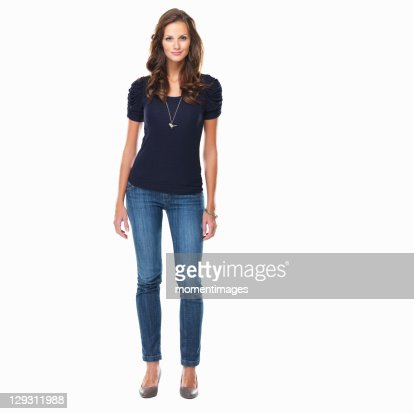 Studio shot of young beautiful woman standing on white background : Stock Photo