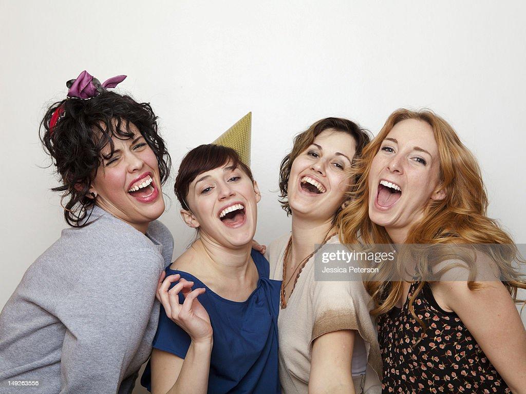 Studio Shot of young women singing : Stock Photo
