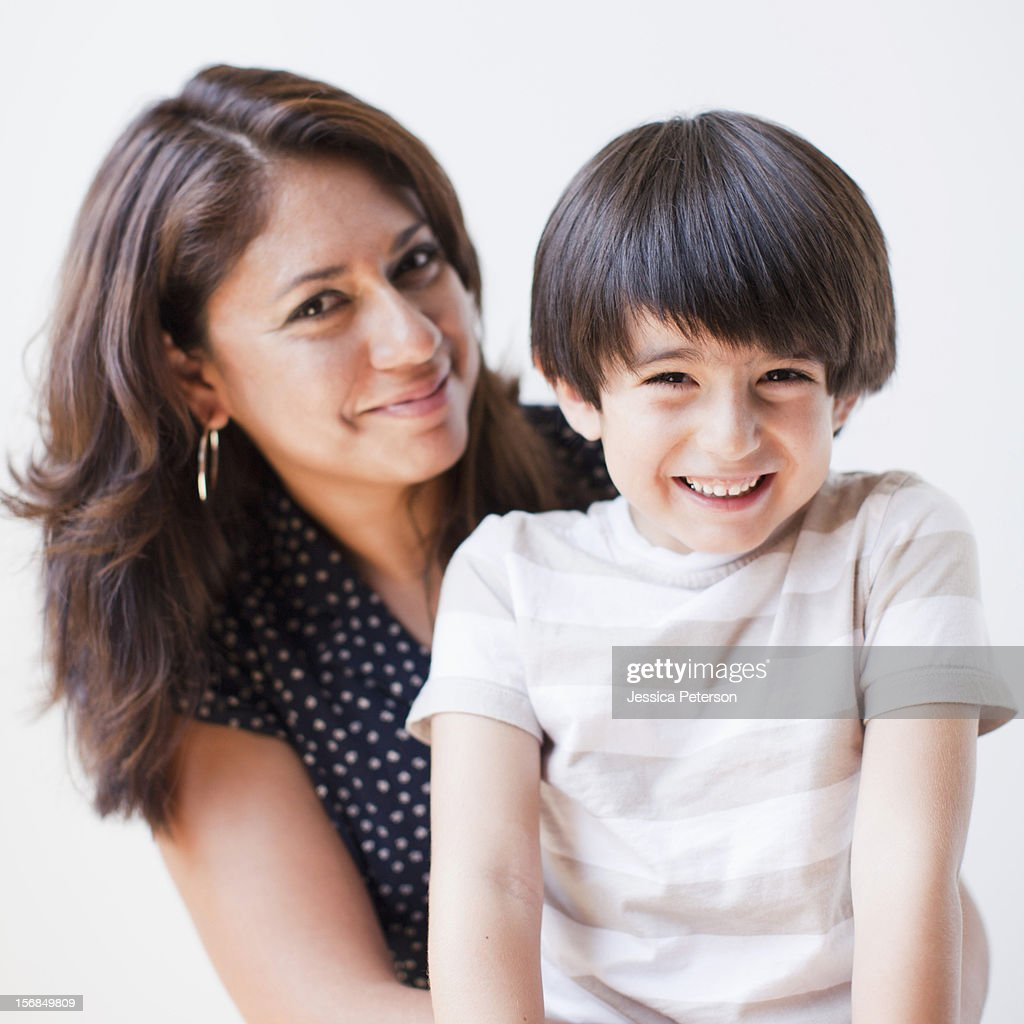 Studio Shot, Portrait of mother and son : Stock Photo