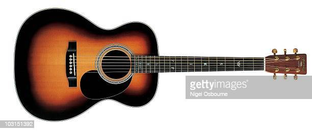 Studio still life of a 2002 Martin 00028LD 'Lonnie Donegan' acoustic guitar photographed in the United Kingdom
