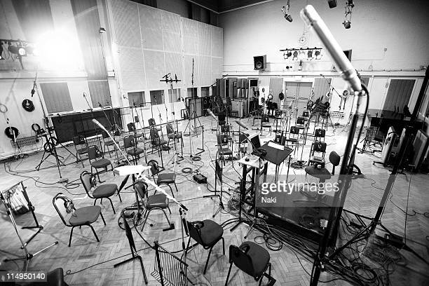 Studio Two at Abbey Road in London laid out for ready for a recording session by the London Philharmonic Orchestra 13th May 2011