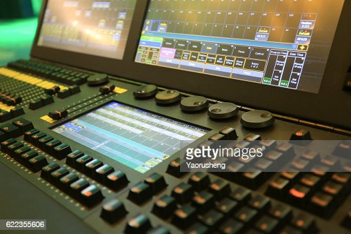 studio working with sound and light mixer console