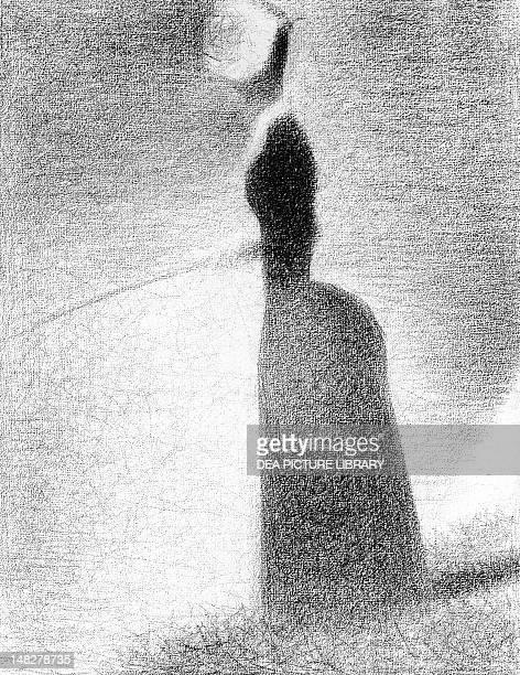 Study for La Grande Jatte woman fishing by Georges Seurat pencil 308 x 238 cm New York The Metropolitan Museum Of Art