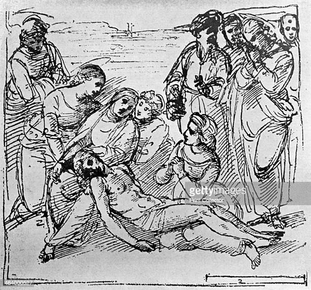 'Study for 'The Entombment' 1913 From a drawing at the University of Oxford A print from The Art of the Great Masters by Frederic Lees Sampson Low...