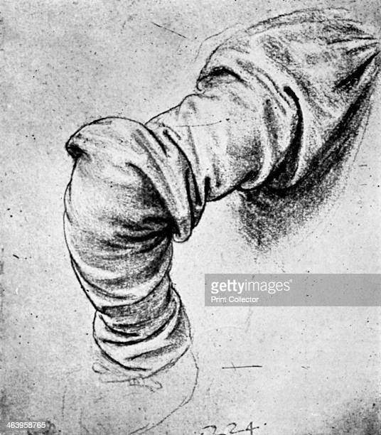 Study for the sleeve of the right arm of St Peter 15th century Original found in the Windsor collection From Apollo magazine volume XII no 69