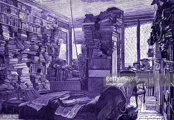 Study of Edouard Fournier Work room piled high with books and papers drawn by EF in 1830