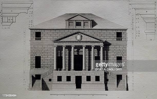Study of Villa Foscari also known as La Malcontenta in Mira near Verona engraving by Ottavio BertottiScamozzi from The Buildings and Designs of...