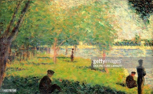 Study on La Grande Jatte by Georges Seurat 16x24 cm New York The Metropolitan Museum Of Art