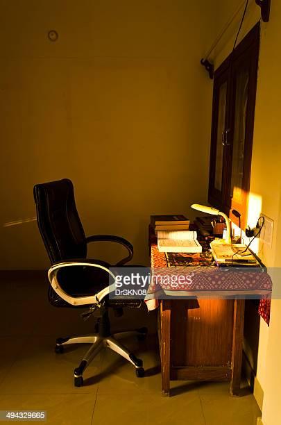 Study table illuminated by sun light