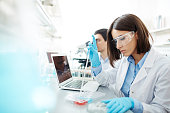 Young woman in whitecoat studying new chemical substances in lab
