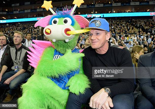 Stuff The Magic Dragon and Gordon Ramsay attend Orlando Magic vs Toronto Raptors NBA Global Game at The O2 Arena on January 14 2016 in London England