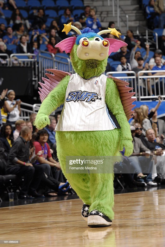 Stuff the Magic Dragon of the Orlando Magic gets the crowd pumped up against the Dallas Mavericks during the game on January 20, 2013 at Amway Center in Orlando, Florida.
