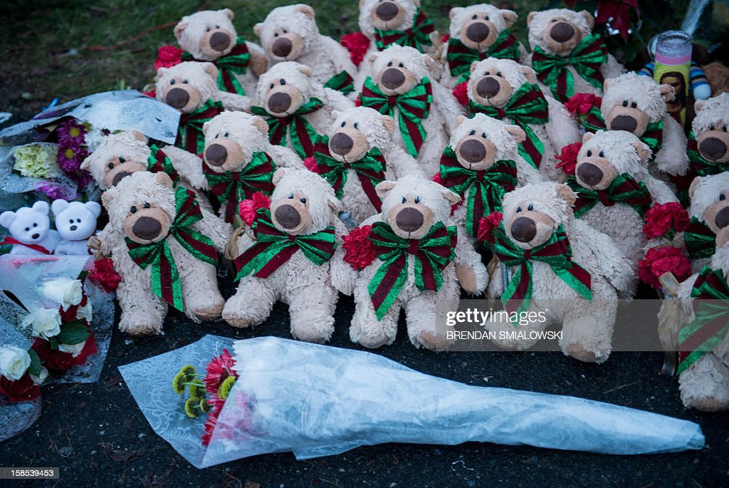 Stuffed animals and flowers are seen at a makeshift memorial near the entrance to the grounds of Sandy Hook Elementary School on December 18, 2012 in Newtown, Connecticut. Students in Newtown, excluding Sandy Hook Elementary School, return to school for the first time since last Friday's shooting at Sandy Hook which took the live of 20 students and 6 adults. AFP PHOTO/Brendan SMIALOWSKI