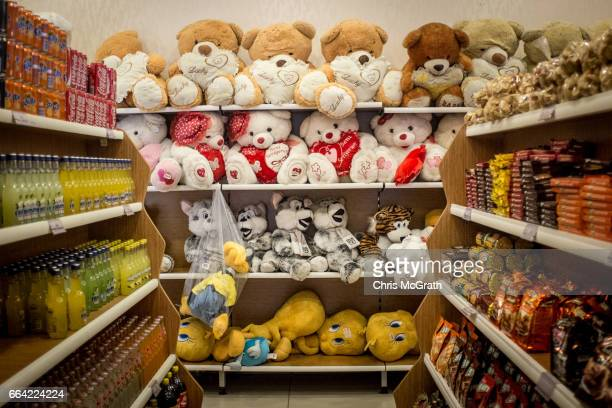 Stuffed animals are seen for sale at a highway rest stop on the road outside Ankara on April 3 2017 outside Ankara Turkey The capital Ankara is the...