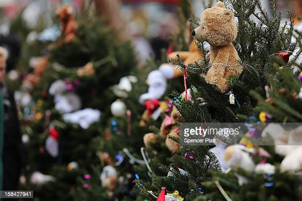 Stuffed animals decorate Christmas trees donated in memory of those killed at the Sandy Hook School December 16 2012 in Newtown Connecticut Twentysix...