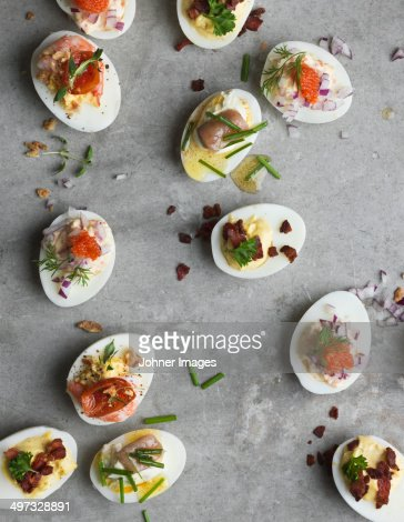 Stuffed eggs on grey background, Sweden