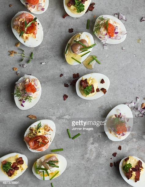 Stuffed eggs on grey background, Sweden