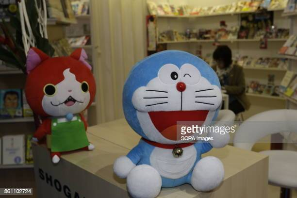 FRANKFURT FRANKFURT HESSE GERMANY Stuffed figurines of manga characters are on display at the booth of the Japanese publishing company Shogakukan at...