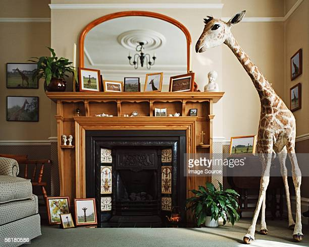 Stuffed giraffe in a living room