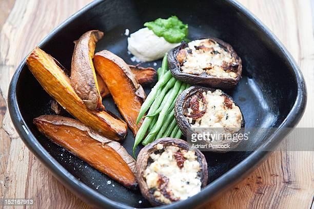 stuffed mushrooms, sweet potato wedges