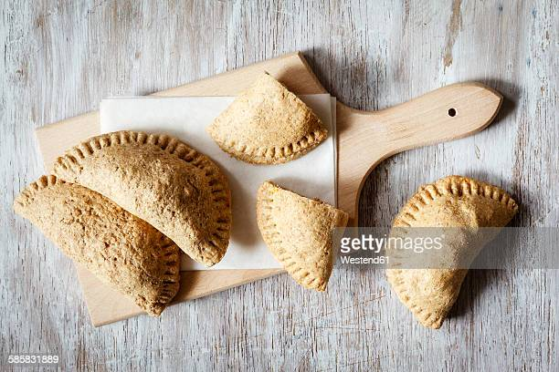 Stuffed pastry of wholemeal-dough, filled with sweet potato and bean