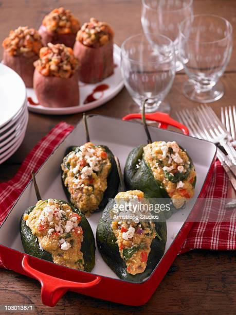 Stuffed Peppers and Sweet Potatoes