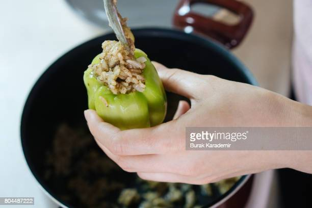 Stuffed peppers preparation