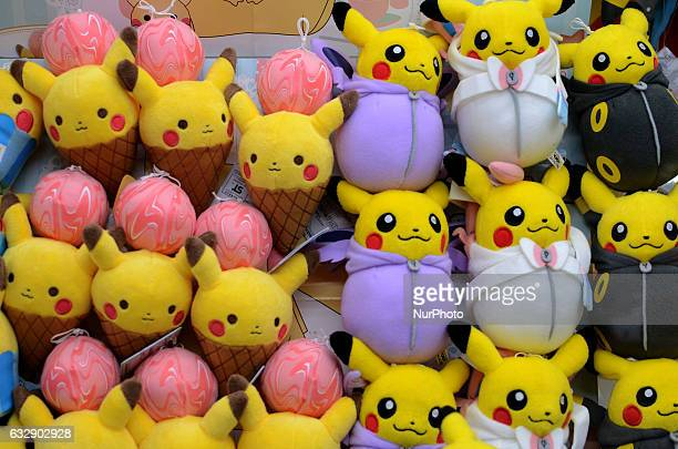 Stuffed Pikachu toys a Pokemon fictional character are piled at a game center in Tokyo Japan January 28 2017
