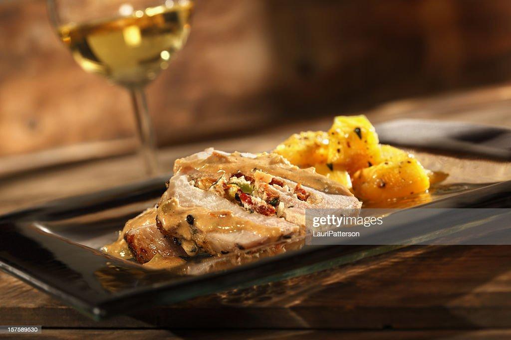 Stuffed Pork Roast with Roasted Squash : Stock Photo
