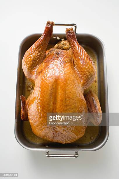 Stuffed roast turkey in roasting tray, close up