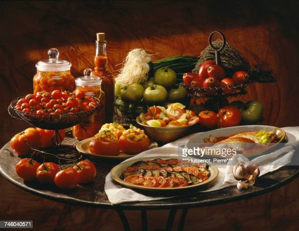Stuffed tomatoes,vegetable Tian and red mullets with tomatoes