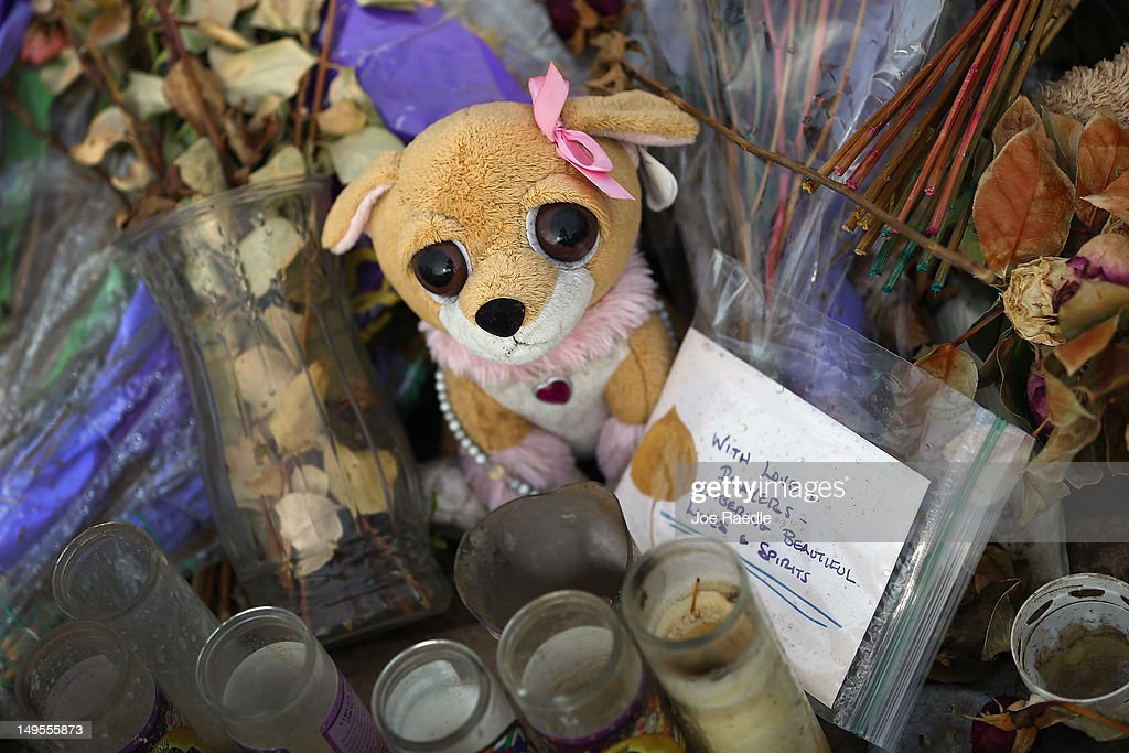 A stuffed toy sits among flowers and candles at the memorial setup across the street from the Century 16 movie theatre on July 30, 2012 in Aurora, Colorado. Twenty-four-year-old James Holmes is suspected of killing 12 and injuring 58 others during a shooting rampage at the theater during a screening of 'The Dark Knight Rises.'